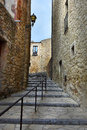 Pals street in the small medieval mediterranean village of near the coast of costa brava spain Royalty Free Stock Images