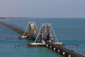 Pamban bridge india s first sea across sea its a cantilever it opens up at center to make way for ships Stock Images