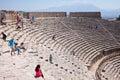 Pamukkale turkey september tourists regard antique amphitheater in the ancient city of hierapolis pamukkale turkey is Royalty Free Stock Image