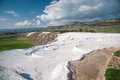 Pamukkale with water dry out landscape of turkey cotton castle Royalty Free Stock Photos
