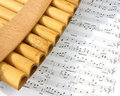 Pan flute and notes Stock Image