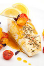 Pan fried halibut Royalty Free Stock Image