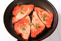 Pan fried lunchmeat Royalty Free Stock Photo