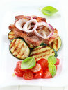 Pan-fried pork steak  with grilled vegetable Stock Image