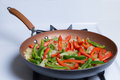 Pan of Peppers and Onions Royalty Free Stock Photo