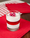 Panacotta dessert with strawberries on the top Stock Image