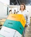 Panal apilado pushing trolley of del apicultor Fotografía de archivo libre de regalías