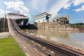 Panama canal ship exits locks at the towards the pacific ocean Royalty Free Stock Images