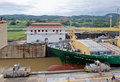 Panama Canal Ship Passage Royalty Free Stock Images