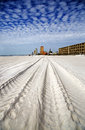 Panama city beach florida tracks in the sand lead to a condo unit on Stock Photography
