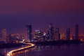 Panama City Night Skyline With Car Traffic On Highway Royalty Free Stock Photo