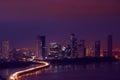 Panama City Night Skyline With Car Traffic On Highway Royalty Free Stock Photo