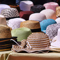 Panama hats on provencal market Royalty Free Stock Image