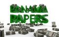 Panama papers offshore tax avoidance the words rendered in d with bundles of money Royalty Free Stock Image