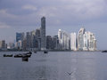 Panama skyline city february the of city with illuminated skyscrapers and in front fishermen boats Royalty Free Stock Photo