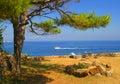 Panarea seaside vista of stromboli and the coast on the remote italian island Stock Images