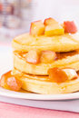 Pancake with apple and maple syrup Royalty Free Stock Image