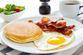 Pancake with Bacon and fried egg Royalty Free Stock Photo