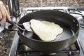 Pancake Batter being Fried Royalty Free Stock Photo
