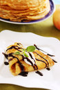 Pancake with chocolate Stock Images