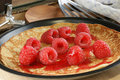Pancake  with fresh organic raspberries Stock Image