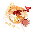 Pancake honey, jam and cottage cheese Stock Photos