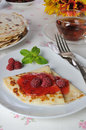 Pancake with raspberry jam pancakes and berries Royalty Free Stock Photography