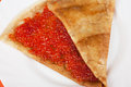 Pancake with red caviar closeup photo Royalty Free Stock Photography