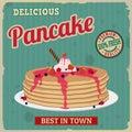 Pancake retro poster Royalty Free Stock Photo