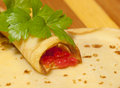 Pancake roll red caviar celery close up Stock Images