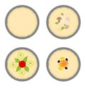 Pancake set tasty kitchen cookery eps vector illustration Stock Photos
