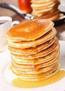Pancake stack and syrup Royalty Free Stock Image
