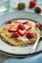 Pancake with Strawberries Royalty Free Stock Photo