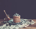 Pancake tower with fresh blueberry and mint on a Royalty Free Stock Photo