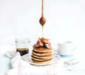 Pancake tower with fresh figs and honey on a Royalty Free Stock Photo