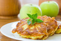 Pancakes with apples sweet on a plate Royalty Free Stock Image