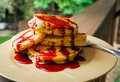 Pancakes with Bing Cherry Syrup Royalty Free Stock Photo