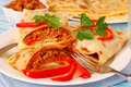 Pancakes with bolognese filling Royalty Free Stock Image