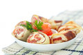 Pancakes with cheese curds and salted salmon Royalty Free Stock Photo