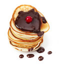 Pancakes with chocolate sauce Stock Photo