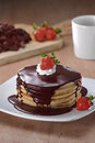 Pancakes with Chocolate and Strawberries Royalty Free Stock Photos