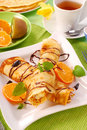 Pancakes with with cottage cheese and orange Royalty Free Stock Image