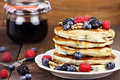 Pancakes and Fresh Berries Royalty Free Stock Photo