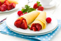 Pancakes fresh with fresh fruits Royalty Free Stock Photography
