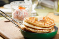 Pancakes freshly baked with a slice of butter Royalty Free Stock Photos