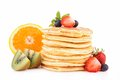 Pancakes and fruits Royalty Free Stock Photo