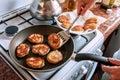 Pancakes in frying pan Royalty Free Stock Photo