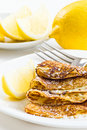 Pancakes with lemons Royalty Free Stock Image