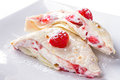 Pancakes with mascarpone cheese and strawberries Royalty Free Stock Photos