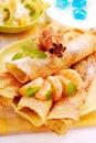 Pancakes with orange Royalty Free Stock Photo